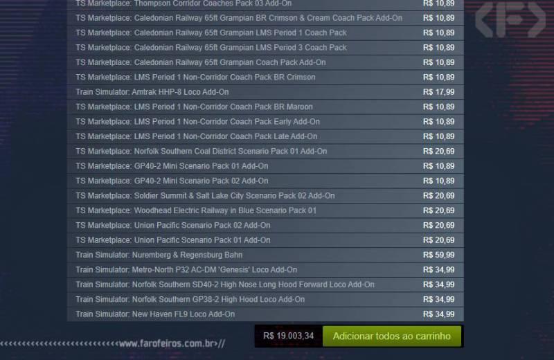 Qual é o jogo mais caro da Steam - Expansões Train Simulator - Steam - Blog Farofeiros