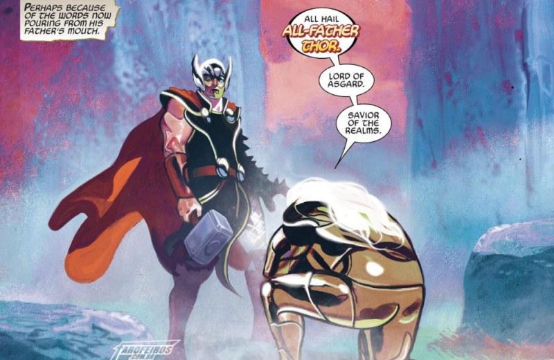 O final de Guerra dos Reinos - Thor pai de todos e Odin ajoelhado - Blog Farofeiros