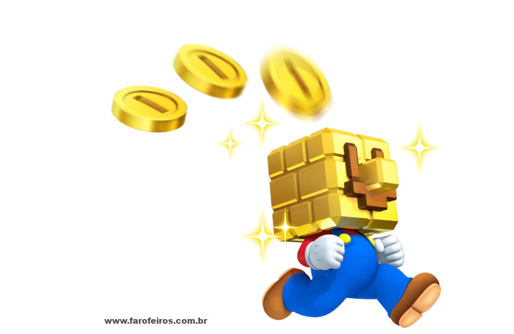 O problema é o dinheiro - Super Mario - Cabeça de bloco - Blog Farofeiros