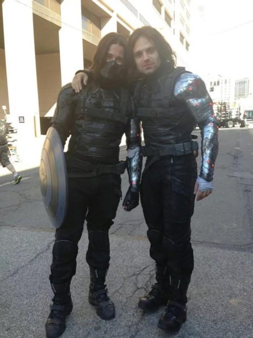 Atores da Marvel e seus dublês - Soldado Invernal de Sebastian Stan & James Young - Blog Farofeiros