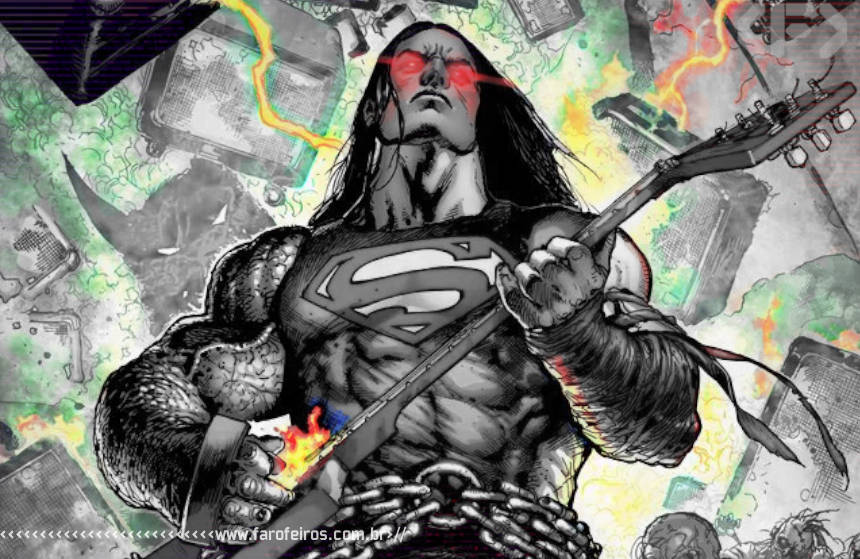 Superman tocando guitarra - Death Metal - DC Comics - Blog Farofeiros