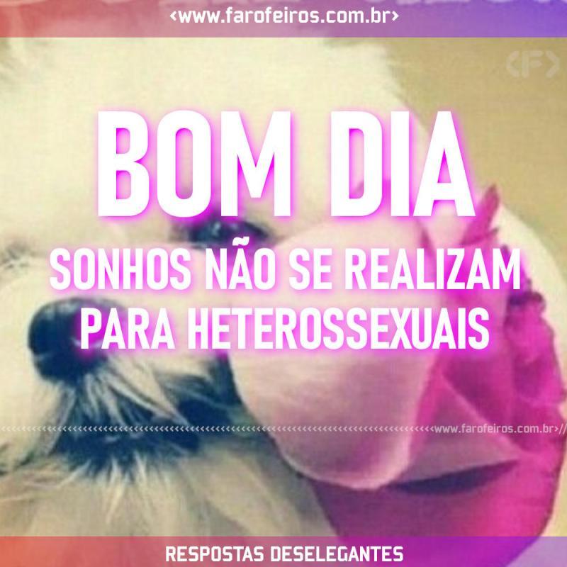 Respostas Deselegantes - Bom Dia Sonhos não se realizam para heterossexuais - Blog Farofeiros