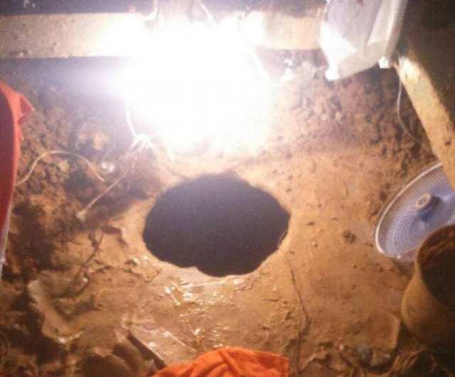 Buraco foi escavado a partir da galeria B1 (Rádio Clube)