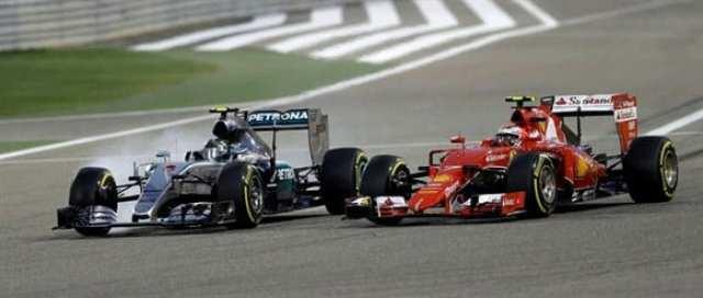 Rosberg e Raikkonen, troca de ultrapassagens e voltas rápidas terminou melhor para o finlandês (AP)