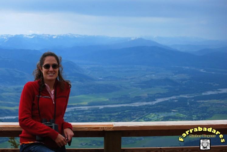 No topo da Montanha Rendezvous, Rio Snake e as montanhas Teton ao fundo
