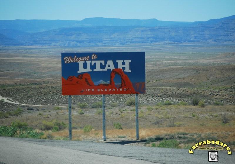 Entrando no estado de Utah e a paisagem de deserto já começa a se destacar