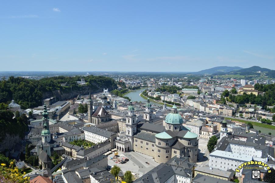 Salzburgo - Vista do castelo, Rio Salzach