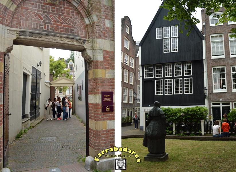 Amsterdam - a entrada do Beijhofje e a casa de madeira número 34