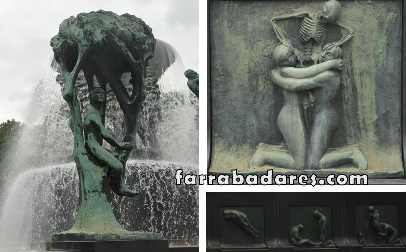 Oslo - Vigeland Parque - detalhes das esculturas da fonte