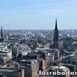 A cidade de Hamburgo vista a partir da torre da Igreja St. Micahelis no bairro de St. Pauli.