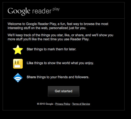 Google Reader Play start