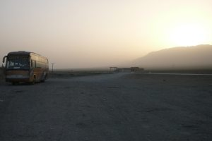 A sleeper bus in the China desert of the Xinjiang province