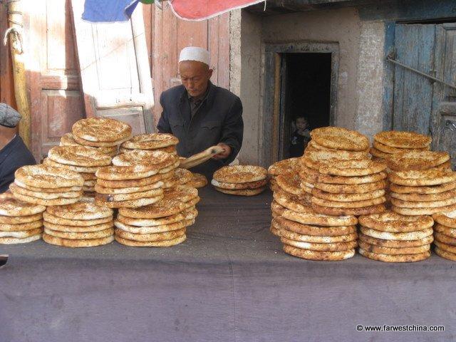 Stacks of Uyghur flat bread