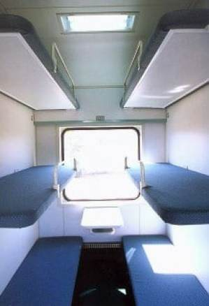 Inside a Chinese hard sleeper compartment