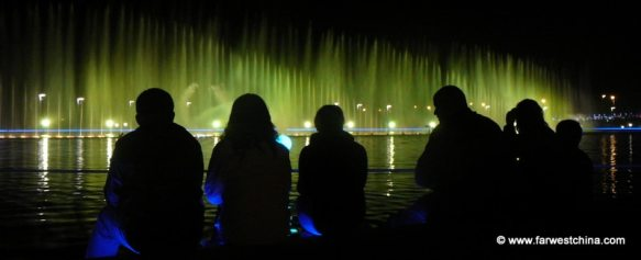 An evening water show in China's desert city