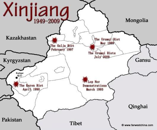 A Map of Xinjiang's recent riots