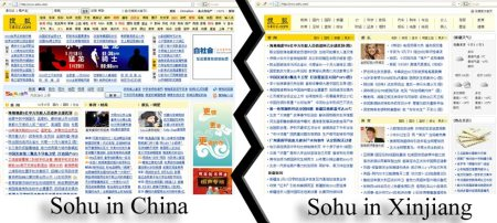 Differences in the Sohu website in Xinjiang and China