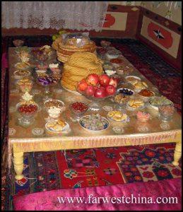 A Uyghur dining room table