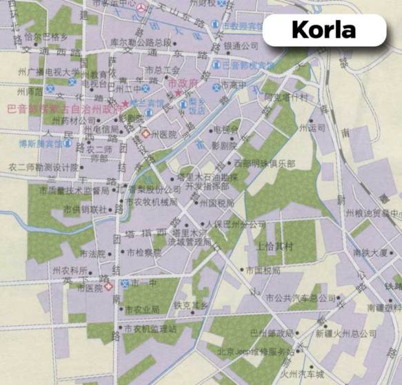 A Chinese road map of Korla