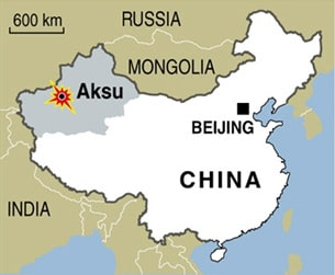 A map of China indicating the location of Aksu, Xinjiang