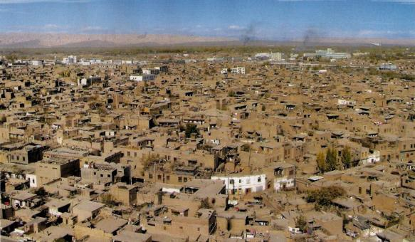 A bird's eye view of Kashgar's Old City in Xinjiang, China
