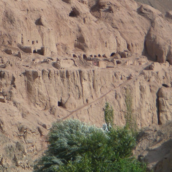 A view of the Buddhist caves in Tuyoq Valley near Turpan, Xinjiang