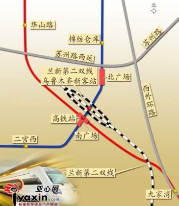 Map of the new Urumqi High-Speed train station in Xinjiang