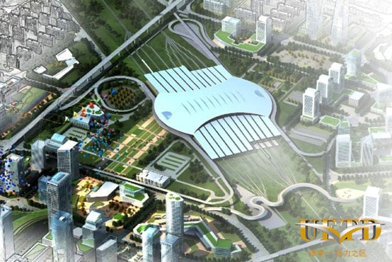Bird's Eye view of Urumqi's new High-Speed rail station in Xinjiang