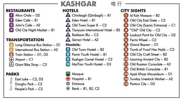 Kashgar City Map Key