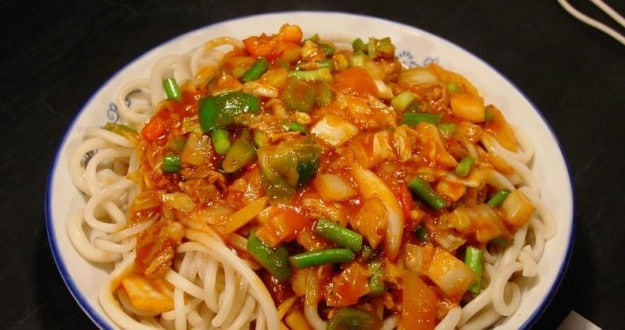 Uyghur Lagman, a specialty of the Xinjiang cuisine