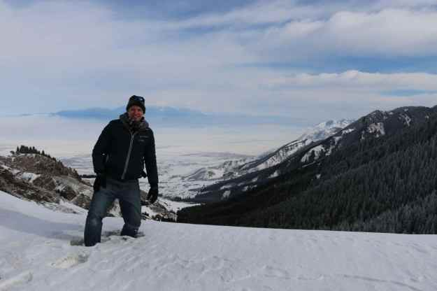 Josh standing in a couple feet of snow in the Urumqi NanShan