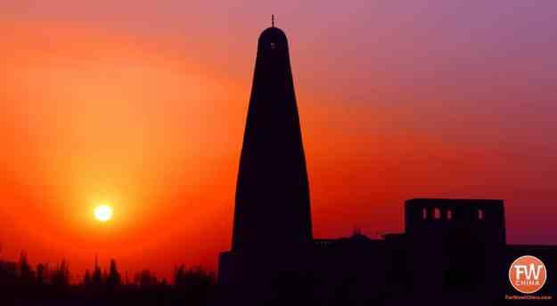 A beautiful sunset at Turpan's Emin Minaret 吐鲁番苏公塔