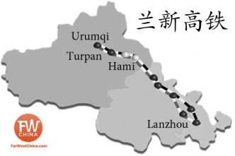 A Map of the LanXin High Speed Train in Xinjiang and Gansu