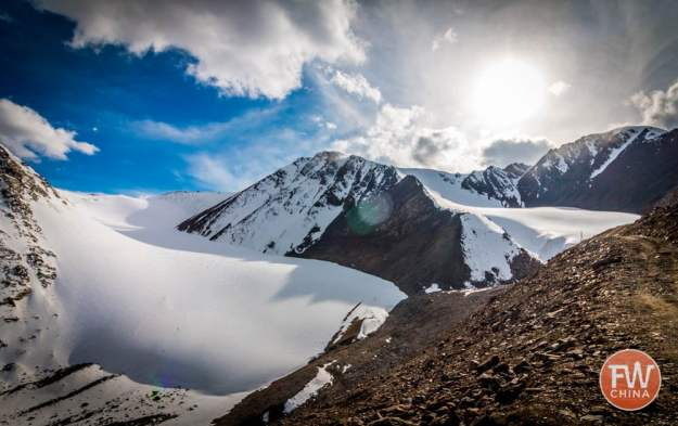 A view of the Urumqi No 1 Glacier on Highway 216