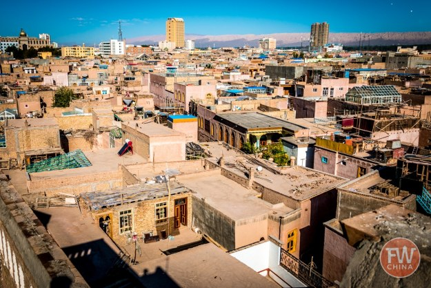 A birds-eye view of the Kashgar Old City in Xinjiang, China