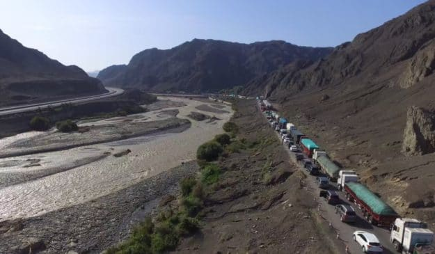 Highway traffic due to a washed out road in Xinjiang