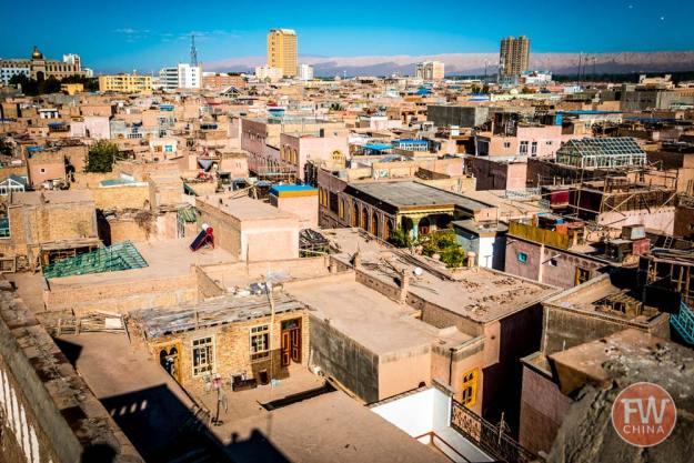 Bird's eye view of Kashgar's Old City in Xinjiang, China