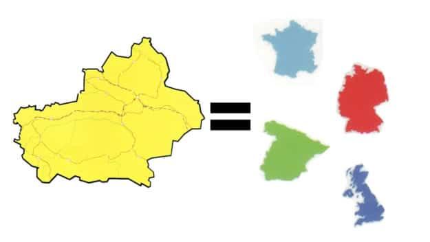 Xinjiang size in relation to European countries