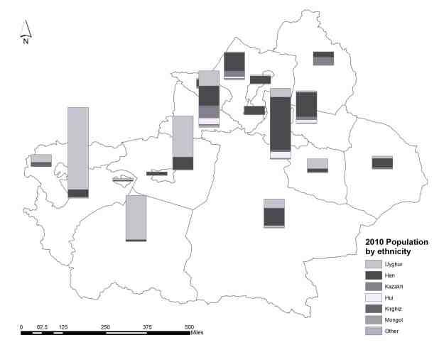 Xinjiang's Ethnic population distribution map