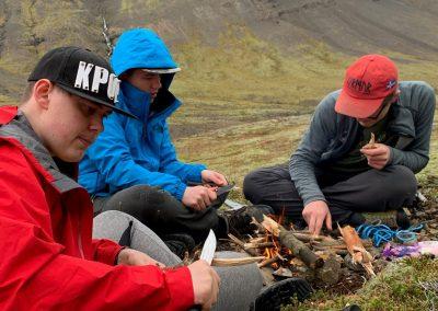 Varðeldurinn tendraður.
