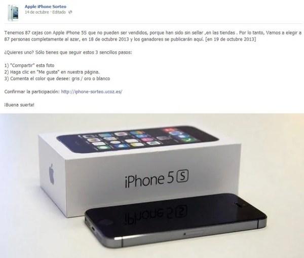 sorteo falso de iphone