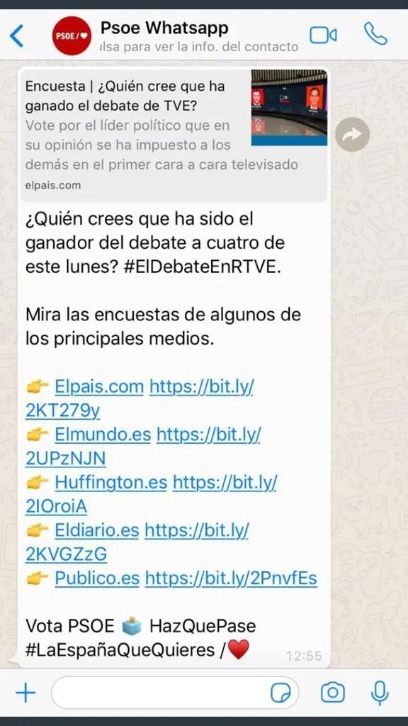 Mensaje de WhatsApp enviado por el PSOE