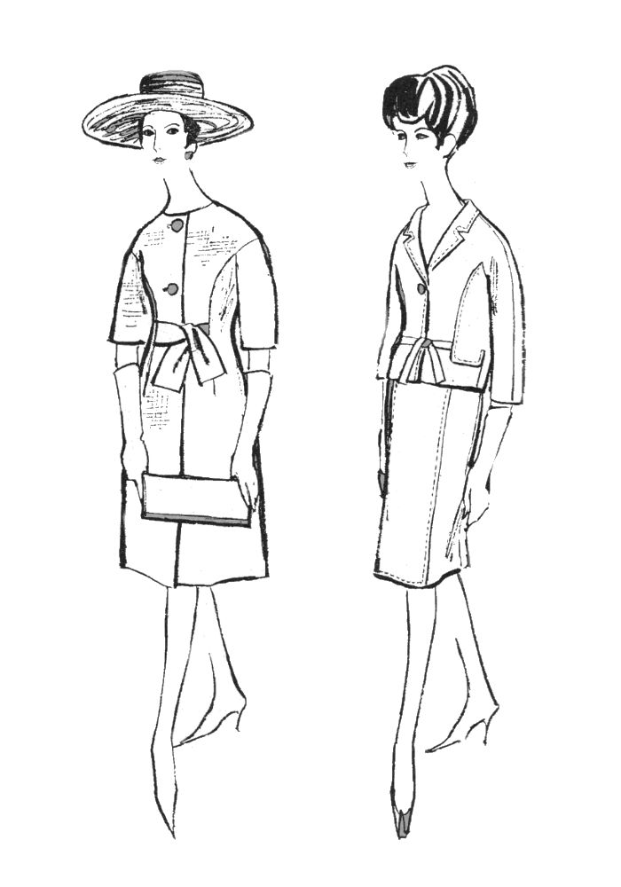 1960s Colouring In Fashion Line Drawings For Sewing