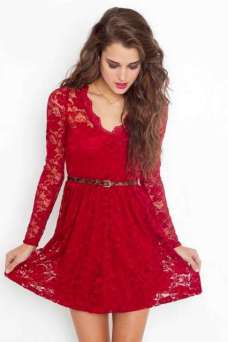 2015 Lace Dresses - Red