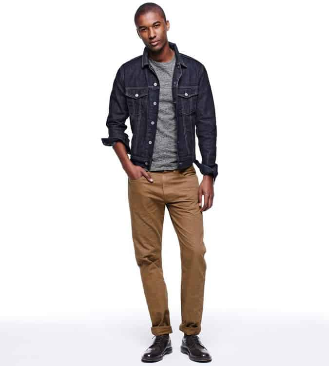 Men's Go-To Outfit Combinations - Denim Jacket & Beige Chinos