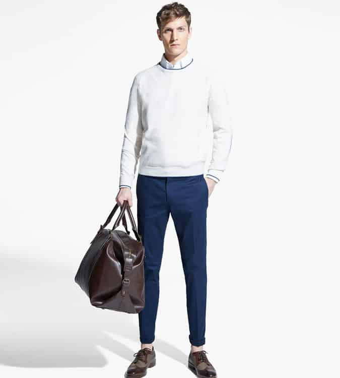 Men's Go-To Outfit Combinations - White Shirt & Crew Neck Knit