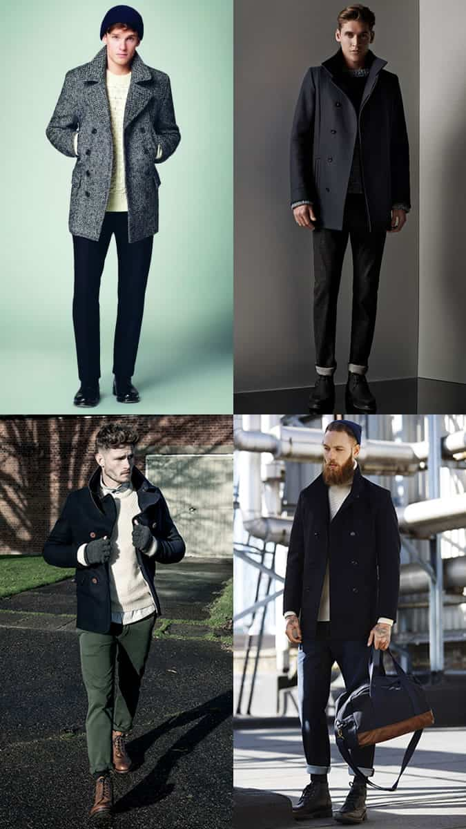 Men's Pea Coat, Chunky Knit and Heavyweight Trousers Outfit Inspiration Lookbook