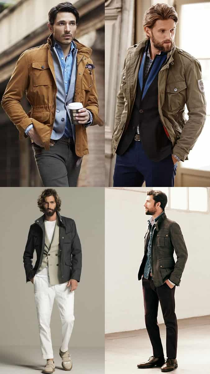 Men's Field/Safari Jackets Worn With Tailoring and Smart-Casual Separates - Fashion Outfit Inspiration Lookbook