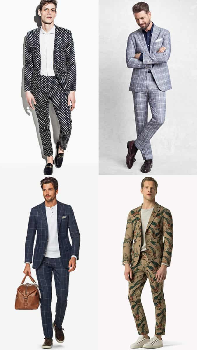 Men's Printed and Patterned Suits Outfit Inspiration Lookbook