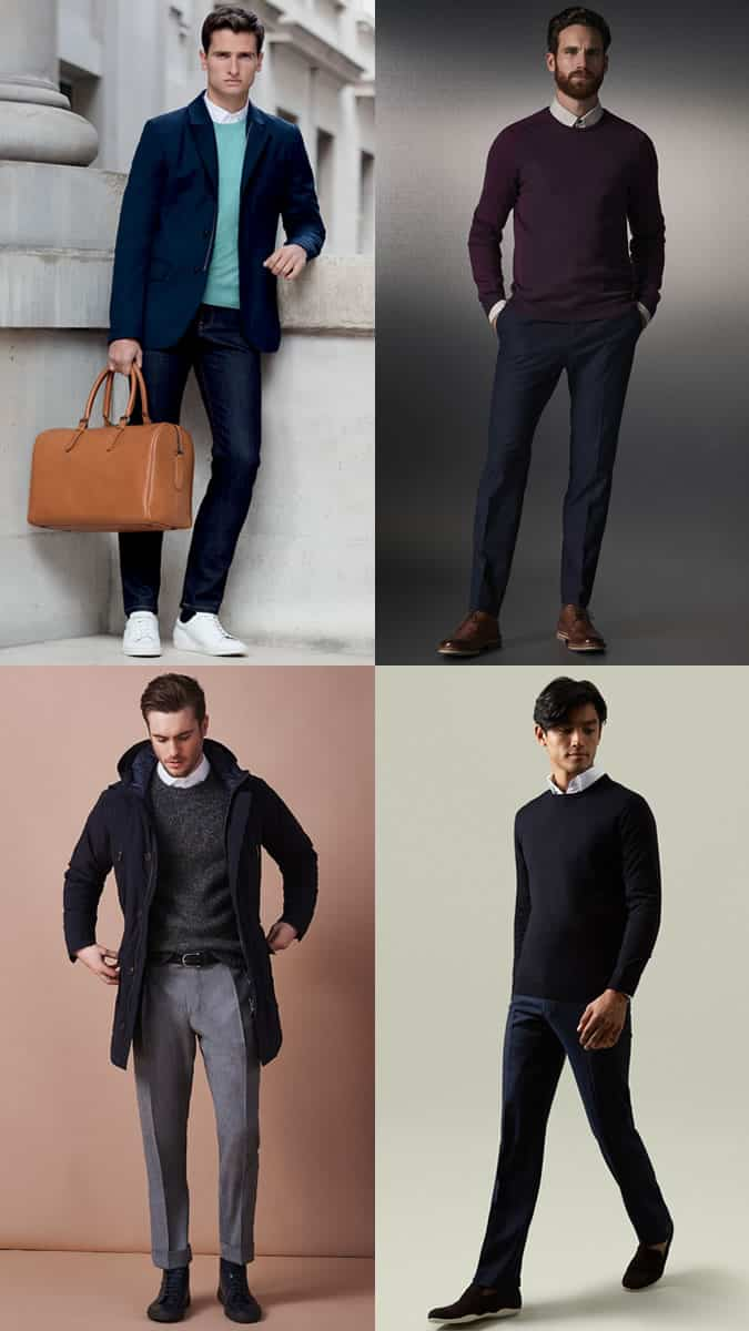 Men's Crew Neck Jumpers Over Shirts Outfit Inspiration Lookbook